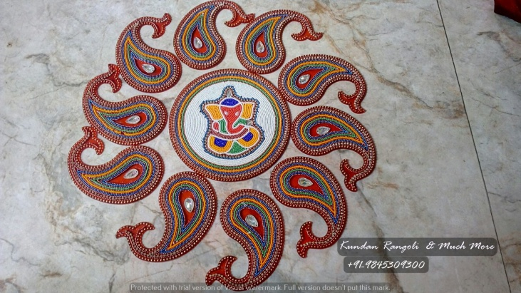 Ganesh Rangoli-Red