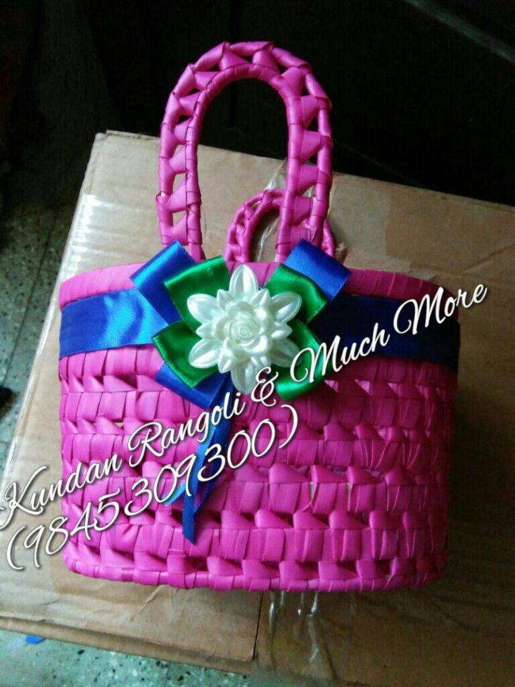Palm Leaf Basket Pink